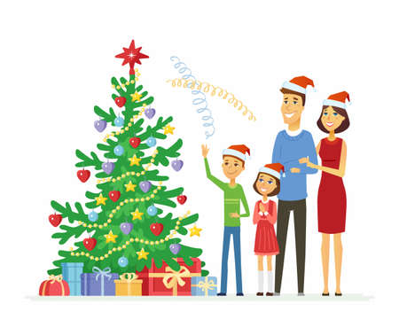 Happy family celebrates Christmas - cartoon people characters illustration on white background. Smiling mother and father with children standing next to a decorated tree with gifts and throwing tinsel