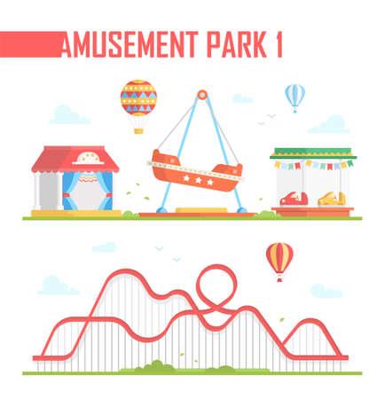 Set van amusement park-elementen - moderne vectorillustratie op witte achtergrond. Achtbaan, heteluchtballonnen, buiten performance podium, carrousels, attractie. Entertainment concept