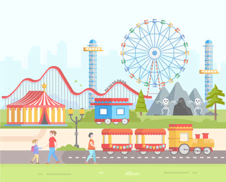 coaster: Weekend - modern flat design style vector illustration on urban background. Amusement park with horror attractions, circus, big wheel, train, roller coaster, lantern, people. Entertainment concept Illustration