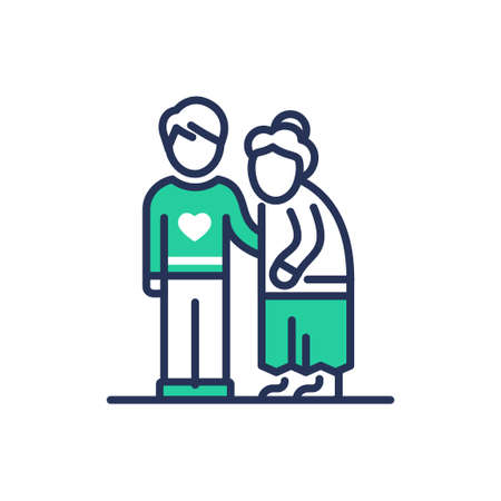 Elderly People Help - modern   vector single line design icon. An image depicting two people, a young man, son ,grandnson, a senior person, grandmother, he . Use it for your presentation. Illustration