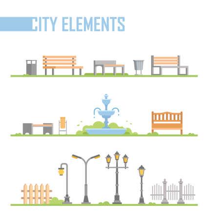 Set di elementi del parco cittadino - vettore moderno illustrazione isolato fumetto Archivio Fotografico - 88479639
