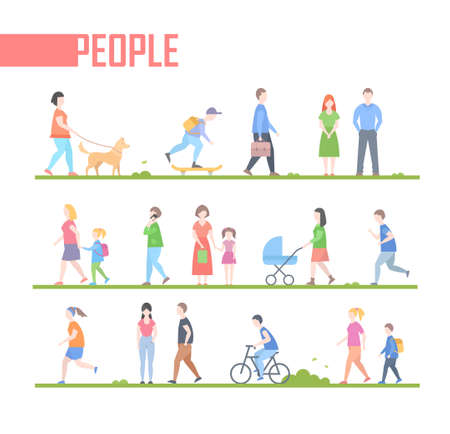 Gente - conjunto de ilustración de personajes de estilo de diseño plano de dibujos animados de vector