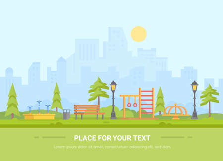 Children playground - modern vector illustration with place for text