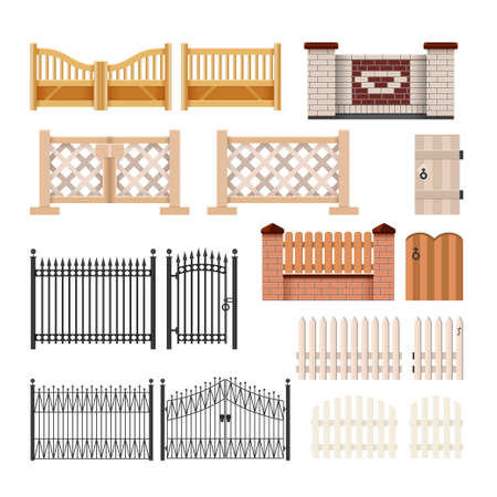 Set of fences - modern vector realistic isolated clip art on white background. Gates of different structures, materials, colors. Metal forging, stone and brick masonry and wood hedges with wickets