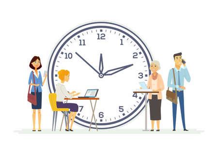 ビジネス - 現代漫画人文字図の時間管理術。異なる性別と年齢の背後にある大きな時計との幸せの同僚。チームワーク、期限、期限の概念、成功の