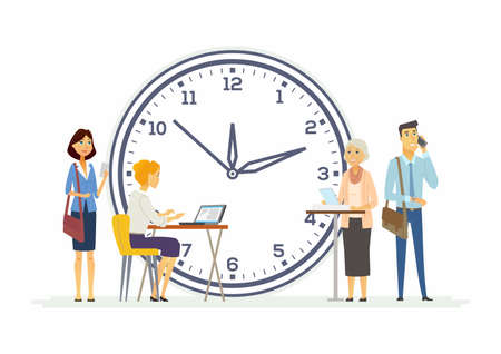 Time management for business - modern cartoon people characters illustration. Happy colleagues of different genders and age with a big clock behind. Concept of teamwork, deadline, due date, success Illustration