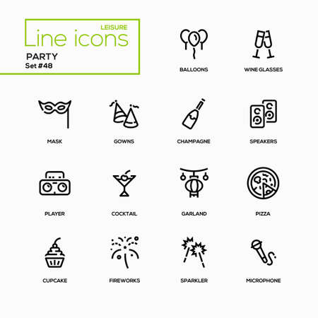 Leisure concept, party - line design icons set