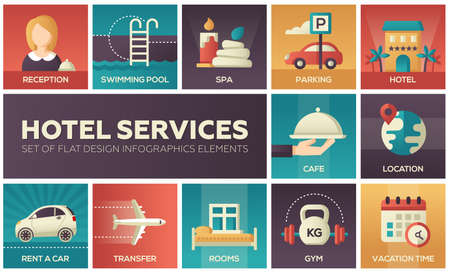 Hotel services - set of flat design infographics elements Stock Photo