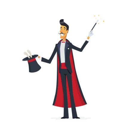 Tovenaar die een hoed truc doet - cartoon mensen karakters geïsoleerd illustratie