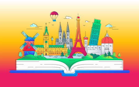 Dreaming of Europe - modern vector line travel illustration. Have a trip, enjoy your vacation. Be on a safe and exciting journey. Landmarks on a book - eiffel tower, the tower of pisa, windmill, cathedral, balloon. Ilustração
