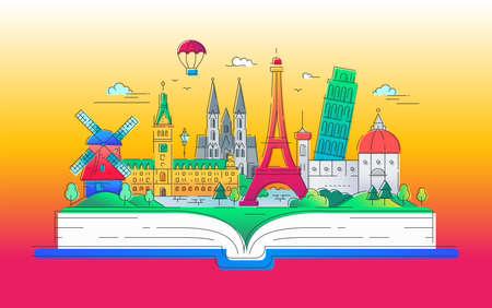 Dromen van Europa - moderne vector lijn reizen illustratie. Heb een reis, geniet van uw vakantie. Wees op een veilige en opwindende reis. Oriëntatiepunten op een boek - de toren van Eiffel, de toren van Pisa, windmolen, kathedraal, ballon. Stockfoto - 88523958