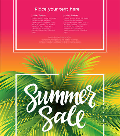 Hello Summer leaflet, brochure, banner template with hand drawn brush pen lettering and filler text.