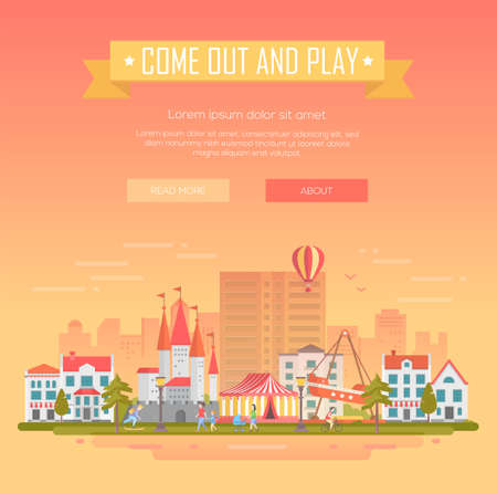 City with attractions, circus pavilion, houses, people