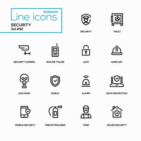 Business concept, security - line design icons set Illustration