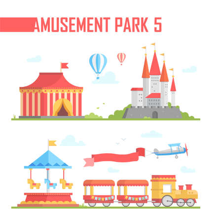 Set of amusement park elements - modern vector illustration on white background. Chapiteau, train, hot air balloons, carousels, attraction, airplane. Entertainment concept Stock Photo
