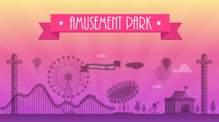 Amusement park - modern vector illustration with landscape silhouette. Text on pink ribbon. Big wheel, attractions, benches, lanterns, trees, skater, circus pavilion. Hot air balloon, airplane Stock Photo