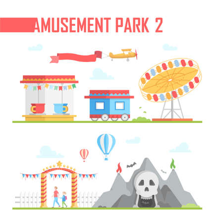Set of amusement park elements - modern vector illustration on white background. Horror show, ticket office, carousel, airplane, entrance, attraction. Entertainment concept Banco de Imagens