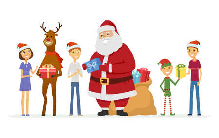 Happy Santa Claus, reindeer and children - cartoon characters isolated illustration Illustration