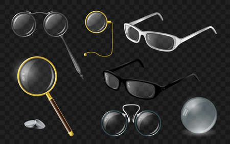 Set of optics - modern vector realistic isolated clip art Çizim