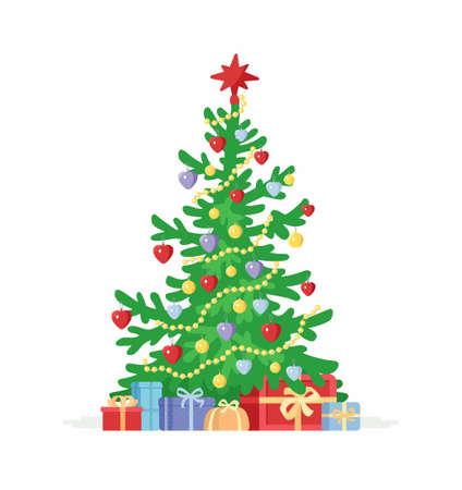 크리스마스 트리 - 만화 문자 흰색 배경에 고립 된 그림. 선물과 함께 휴가 시즌 기호입니다. 새해 장식