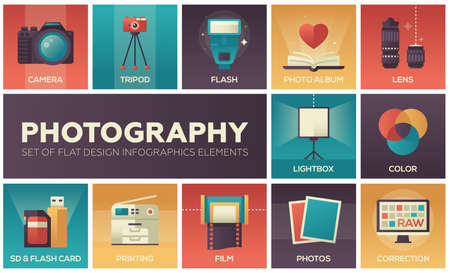 Photography set of flat design infographics elements. Colorful square icons with description. Camera, tripod, flash, album, lens, lightbox, color, sd and flash card, printing, film, correction Illustration