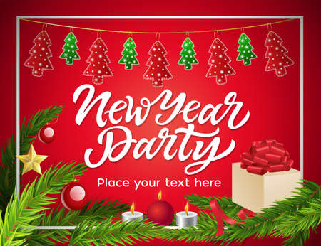 New Year party - modern vector illustration with place for text Banco de Imagens - 88941785