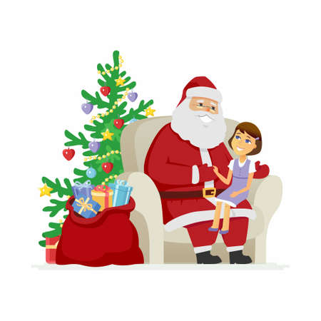 Santa and a girl  modern vector cartoon characters isolated illustration on white background. Smiling Father Frost with a child on his knees telling what gifts she wants on New Year and Christmas
