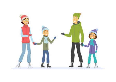 행복한 가족이 스케이트 - 만화 사람들이 문자 그림