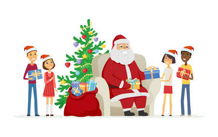 Children and Santa Claus - cartoon characters isolated illustration. Illustration