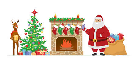 greet card: Santa and reindeer at the fireplace - cartoon characters isolated illustration. Illustration