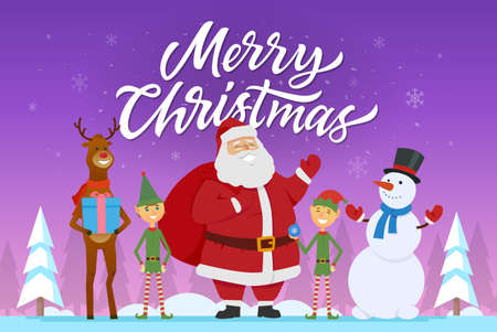 Merry Christmas - cartoon characters illustration with Santa, elves, rain deer, snowman. 向量圖像