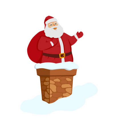 greet card: Happy Santa Claus in chimney