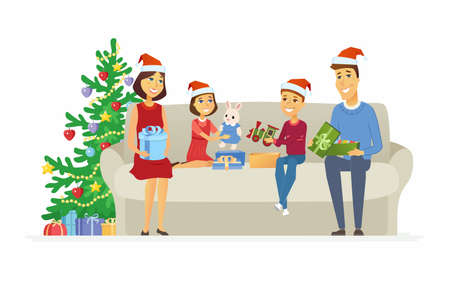 Happy family open Christmas presents - cartoon people characters illustration