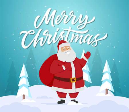 Merry Christmas - cartoon characters illustration with Santa Claus