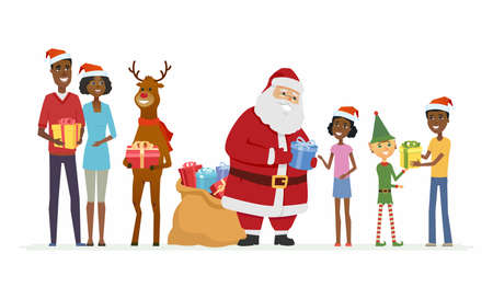 Santa with compaions congratulate African family - cartoon characters isolated illustration