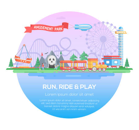 Run, ride and play Stock Illustratie