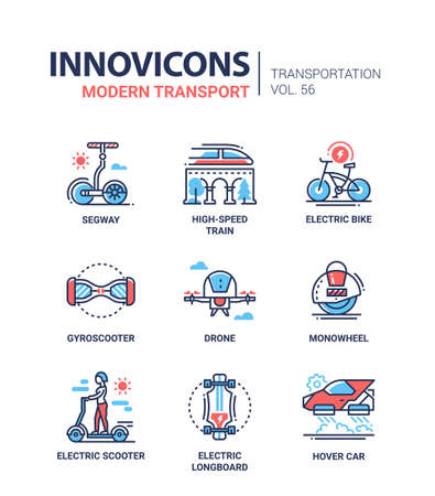 Modern transport - line design icons set Illustration