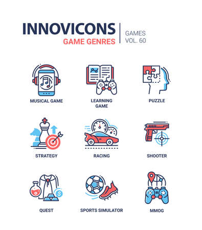 Game genres - line design icons set