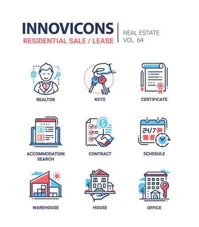 Residentiële verkoop en lease - lijn ontwerp pictogrammen instellen Stock Illustratie