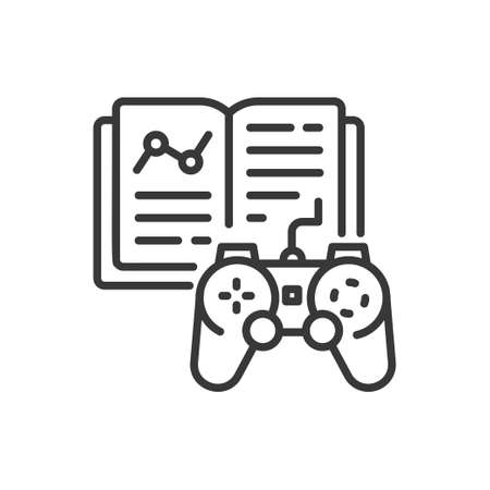 Learning game - line design single isolated icon Illustration