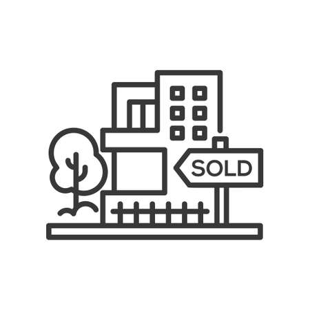 Sold sign - line design single isolated icon Stock fotó - 89841542