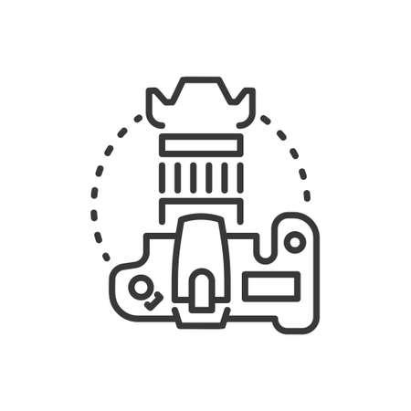 DSLR camera - line design single isolated icon Иллюстрация