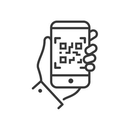 QR-codescanner - lijnontwerp enig geïsoleerd pictogram Stockfoto - 89841541