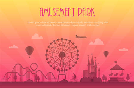 Amusement park - modern illustration with place for text Illustration