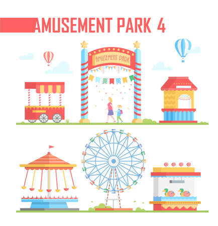 Set of amusement park elements - modern vector illustration Illustration
