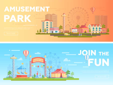 Amusement park - set of modern flat vector illustrations Illustration