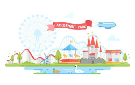 Pretpark - moderne platte ontwerp stijl illustratie