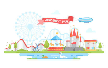 Amusement park - modern flat design style illustration