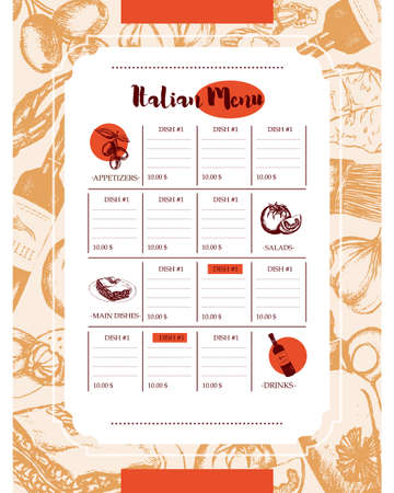 Italian Menu - color hand drawn composite menu. Иллюстрация