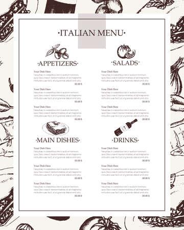 Italian Menu - color hand drawn composite menu. Иллюстрация